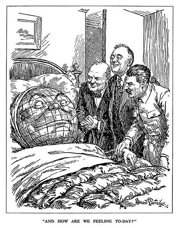 21. Una de las pocas caricaturas occidentales que representan a Stalin de una manera positiva. Churchill, Roosevelt y Stalin, que aplastaron juntos el nazismo en 1945, tratan de consolar al mundo, que ha sufrido tremendamente.