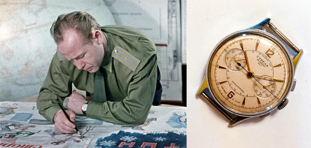 Heroj Sovjetske zveze, pilot in kozmonavt Aleksej Leonov, ki je znan po prvem vesoljskem sprehodu, ter ura Strela