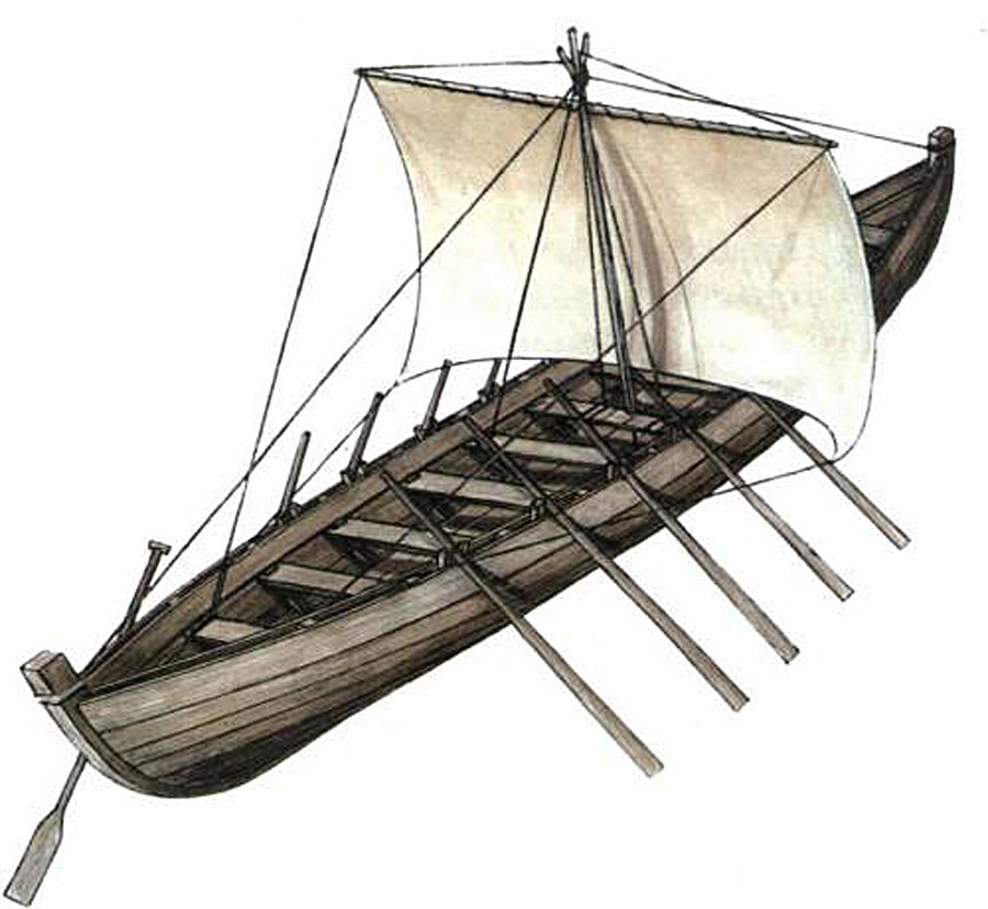 Ушкуј - чамац на весла са једрима.