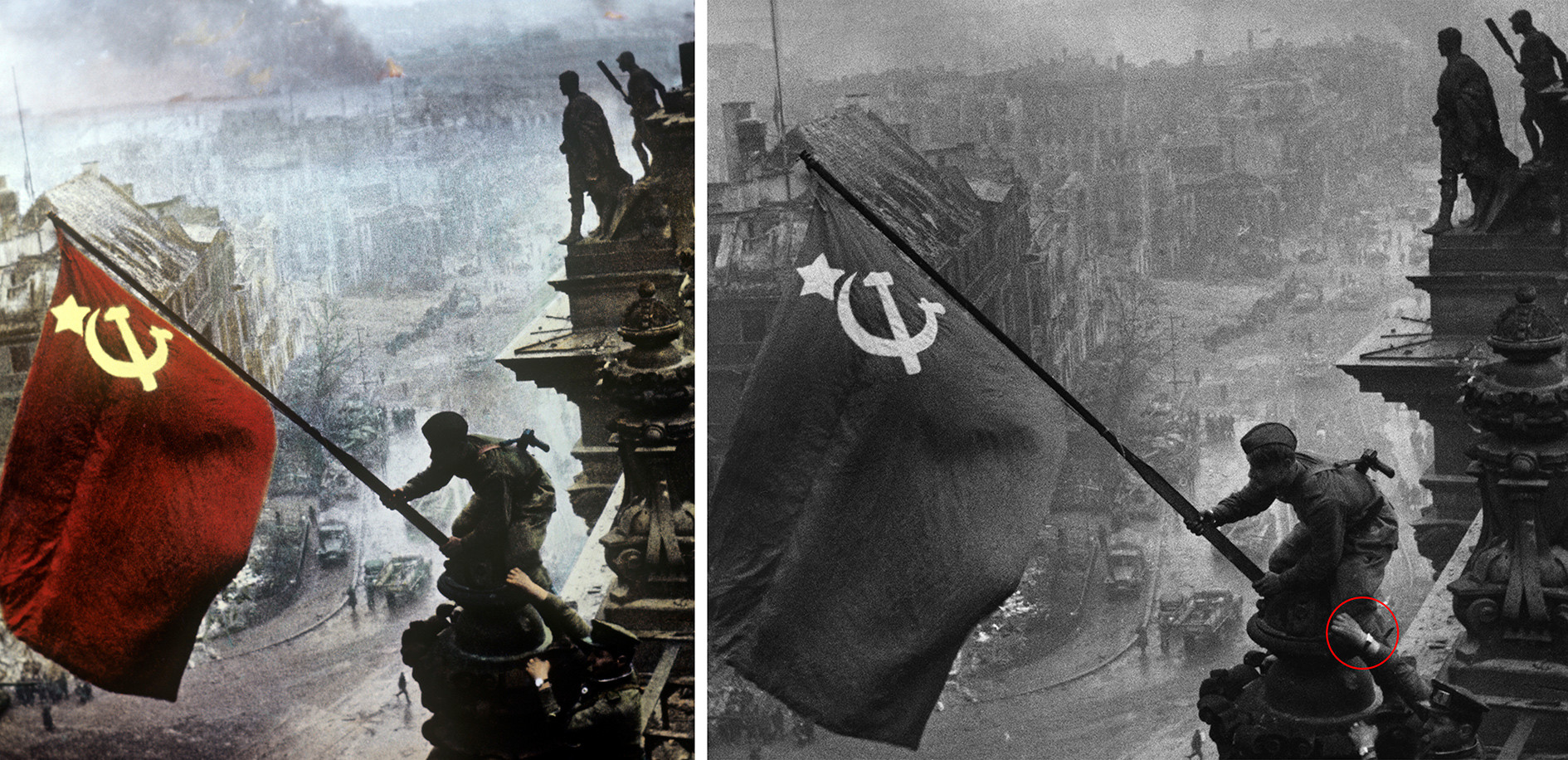 La foto ritoccata (a sinistra) e quella originale (a destra)