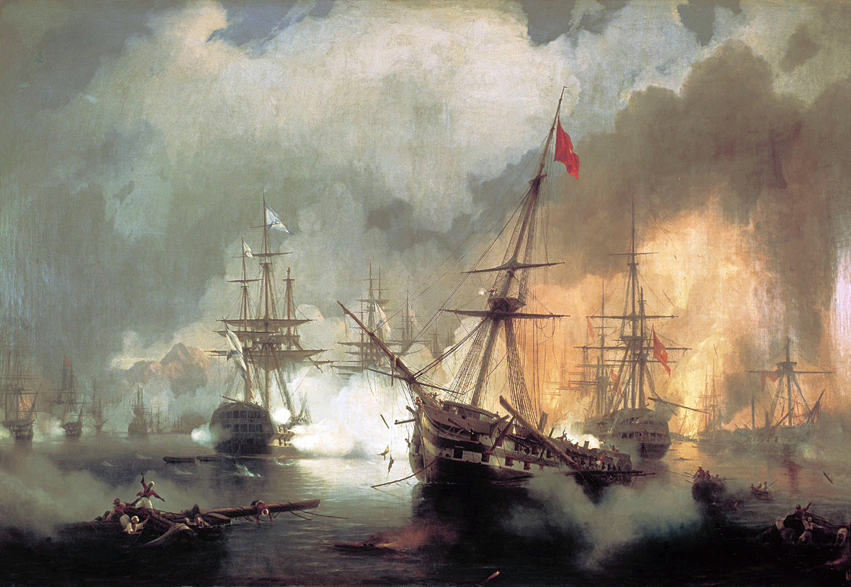 Russians at Battle of Navarino Date 1846 by Ivan Aivazovsky