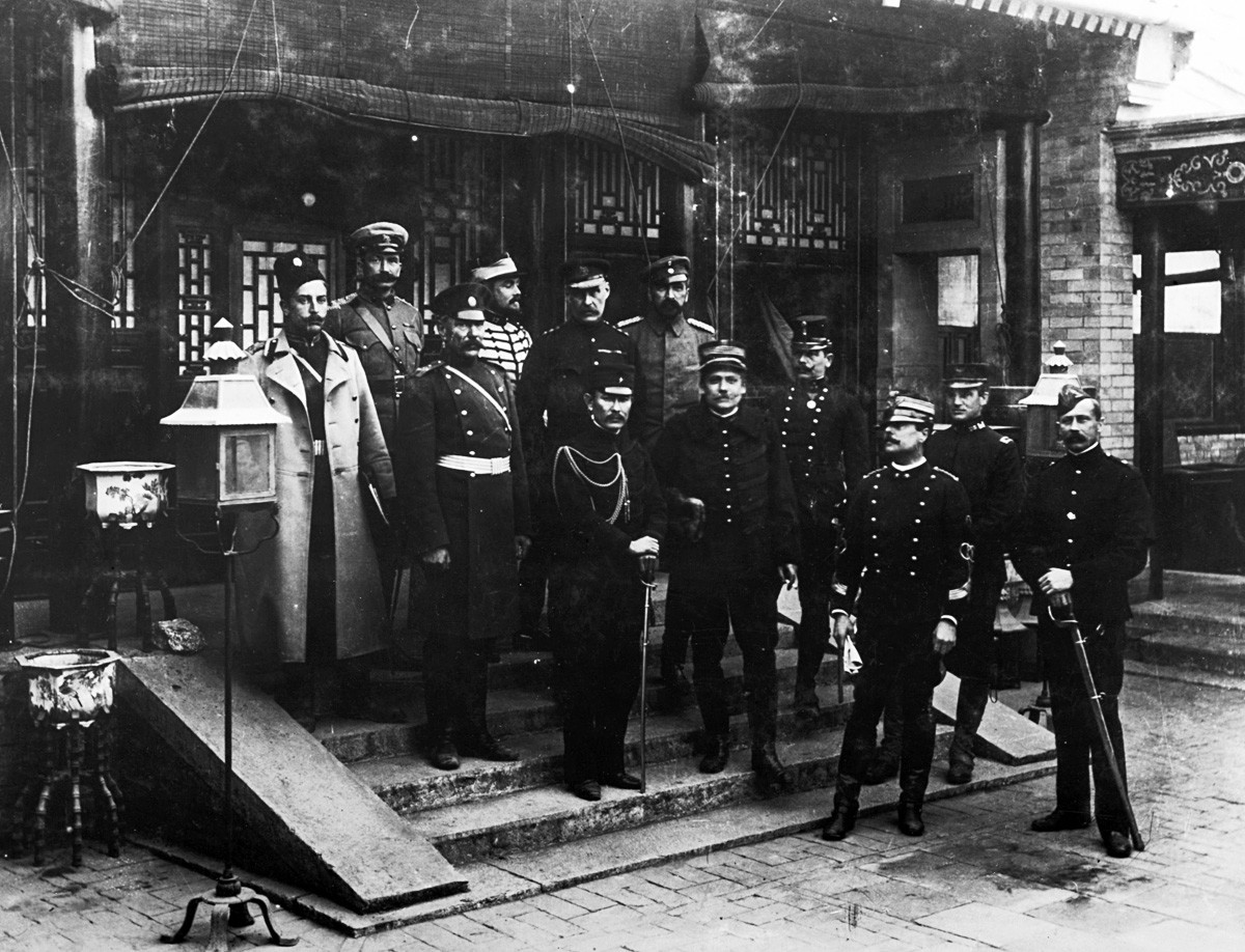 Representatives of the German, British, French, Italian, American and Russian military forces who combined to defeat the Boxer Rebellion in China, in Beijing (Peking)