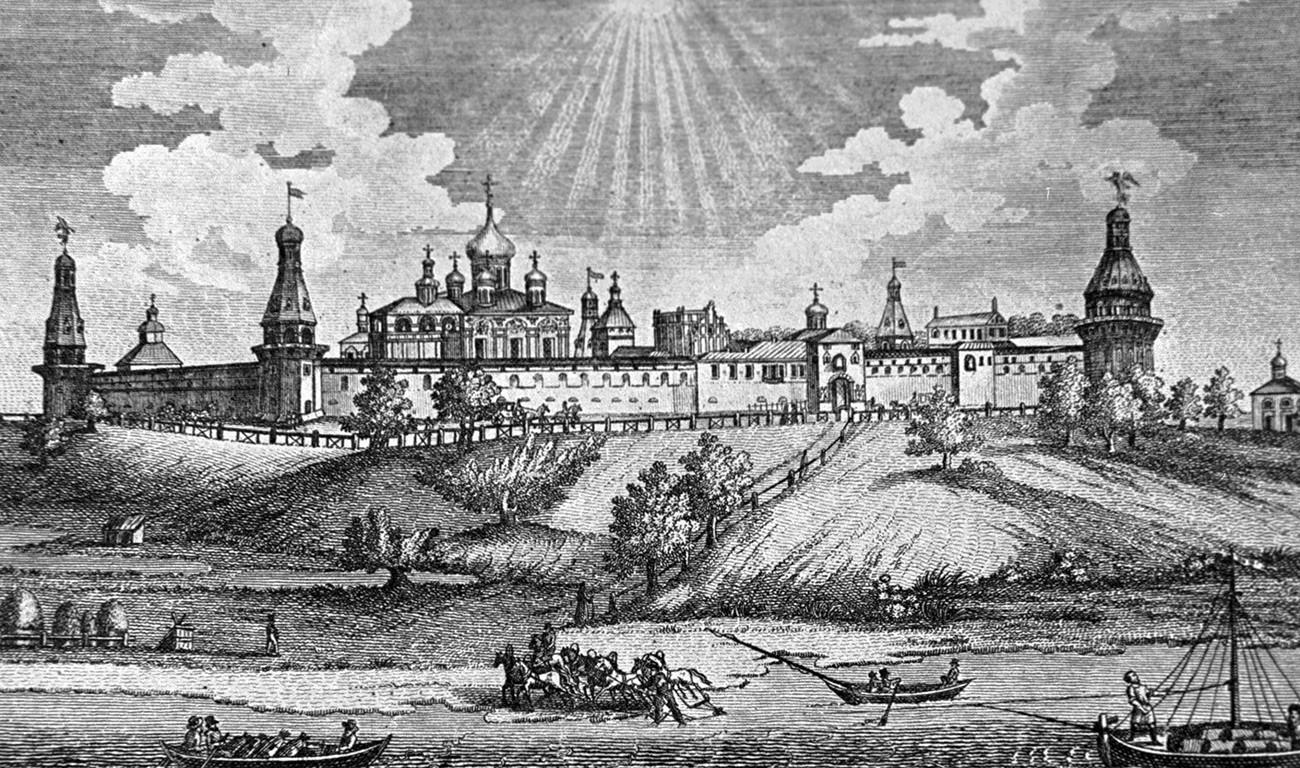 Reproduction d'une lithographie présentant le monastère Simonov. 1839.