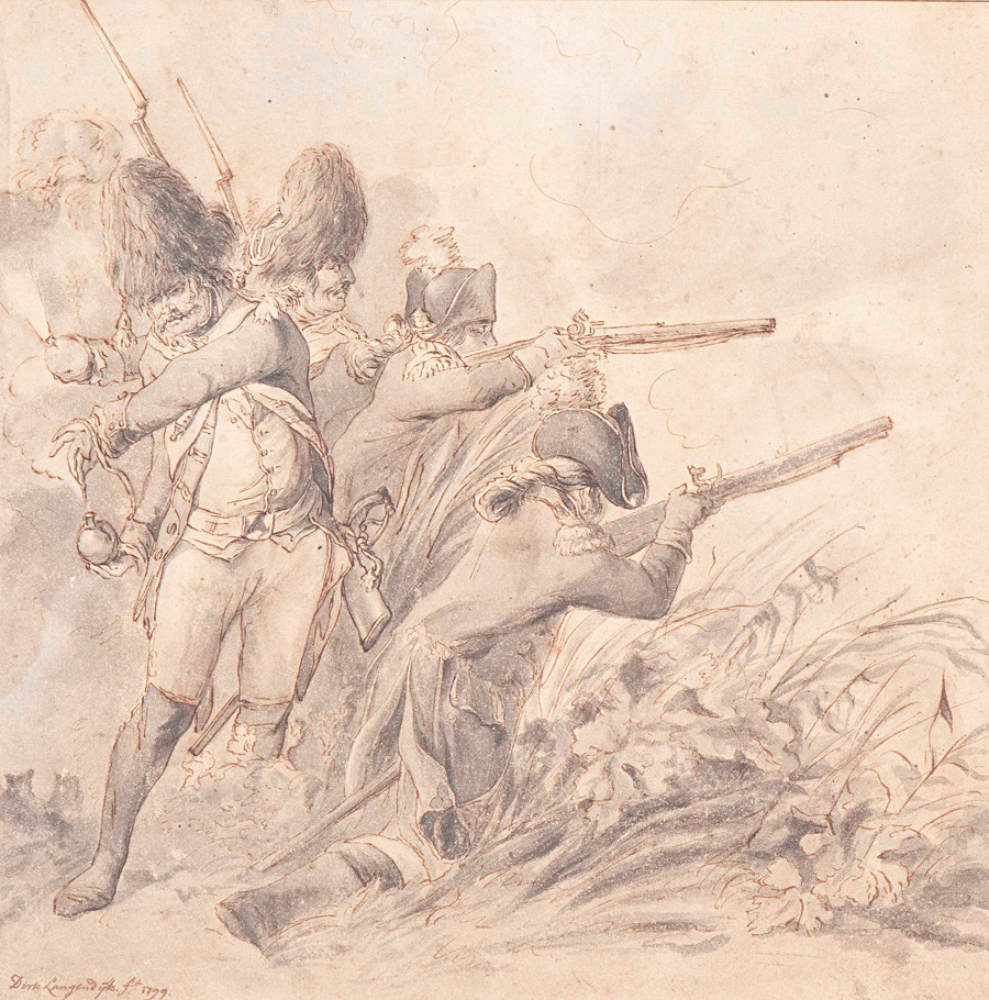 Pasukan Rusia dan Inggris di dekat Bergen, oleh Dirk Langendijk (1748 - 1805).