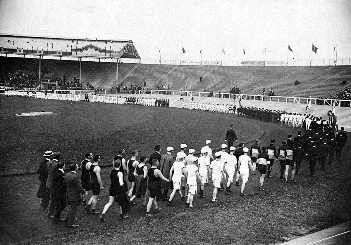 A march-past at the opening ceremony during the 1908 Summer Olympics.