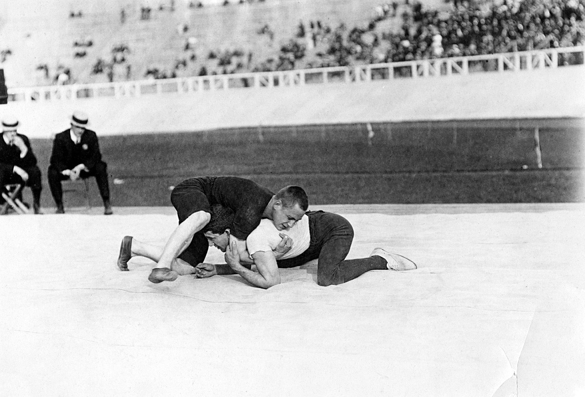 Wrestling event during the 1908 Summer Olympics in London.