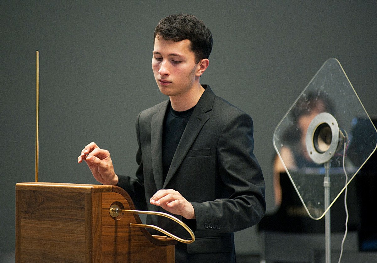 Leon Theremin's great grandson Peter Theremin playing theremin