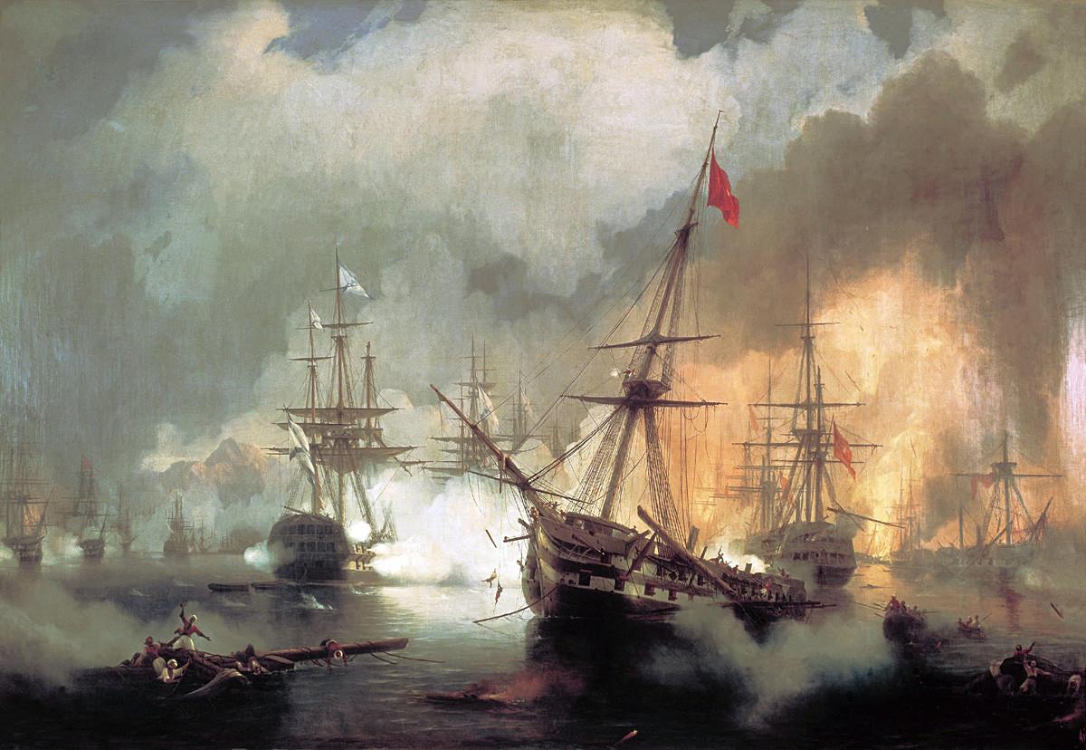 Руснаците при Наваринската битка, 1846 г.; картина на Иван Айвазовски