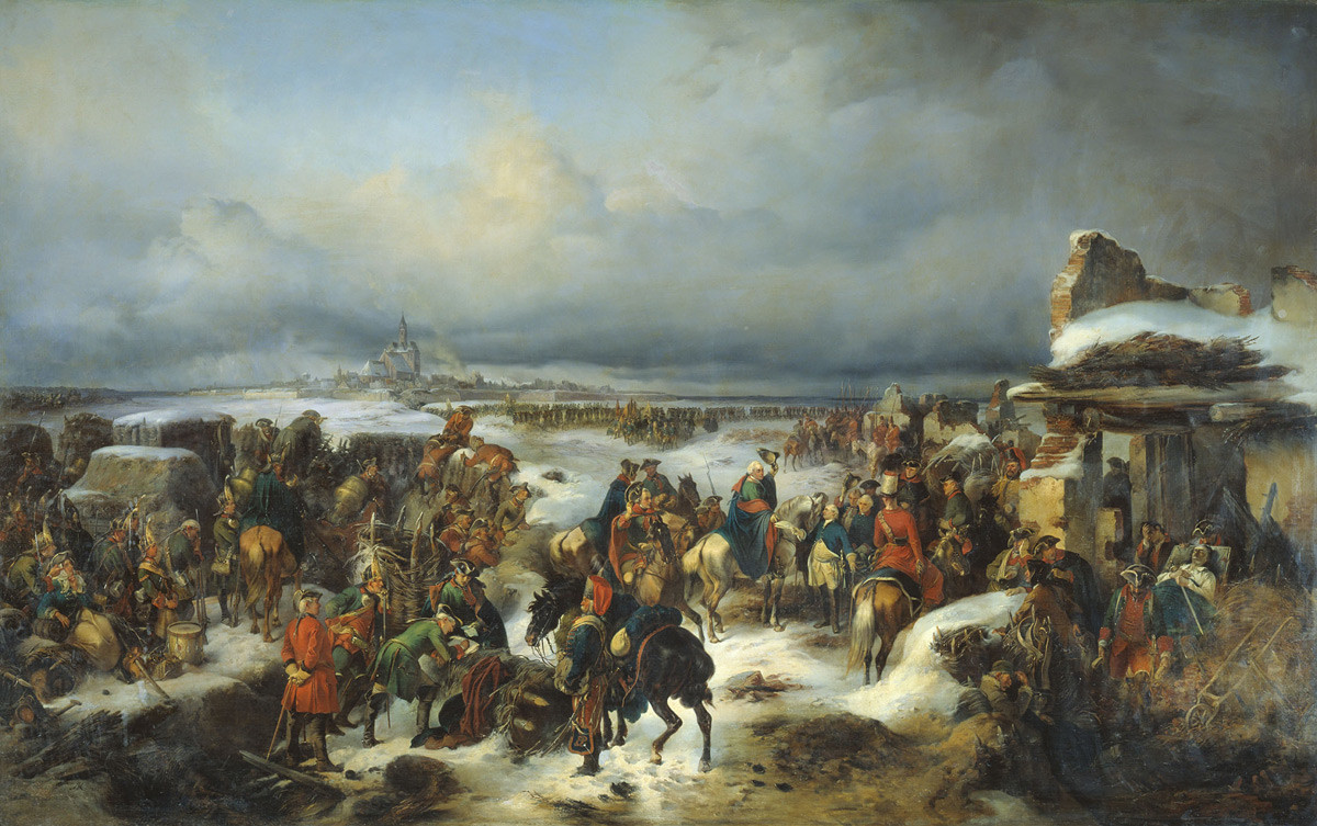 The fall of fortress Kolberg in 1761 (Seven Years' War) to Russian troops.
