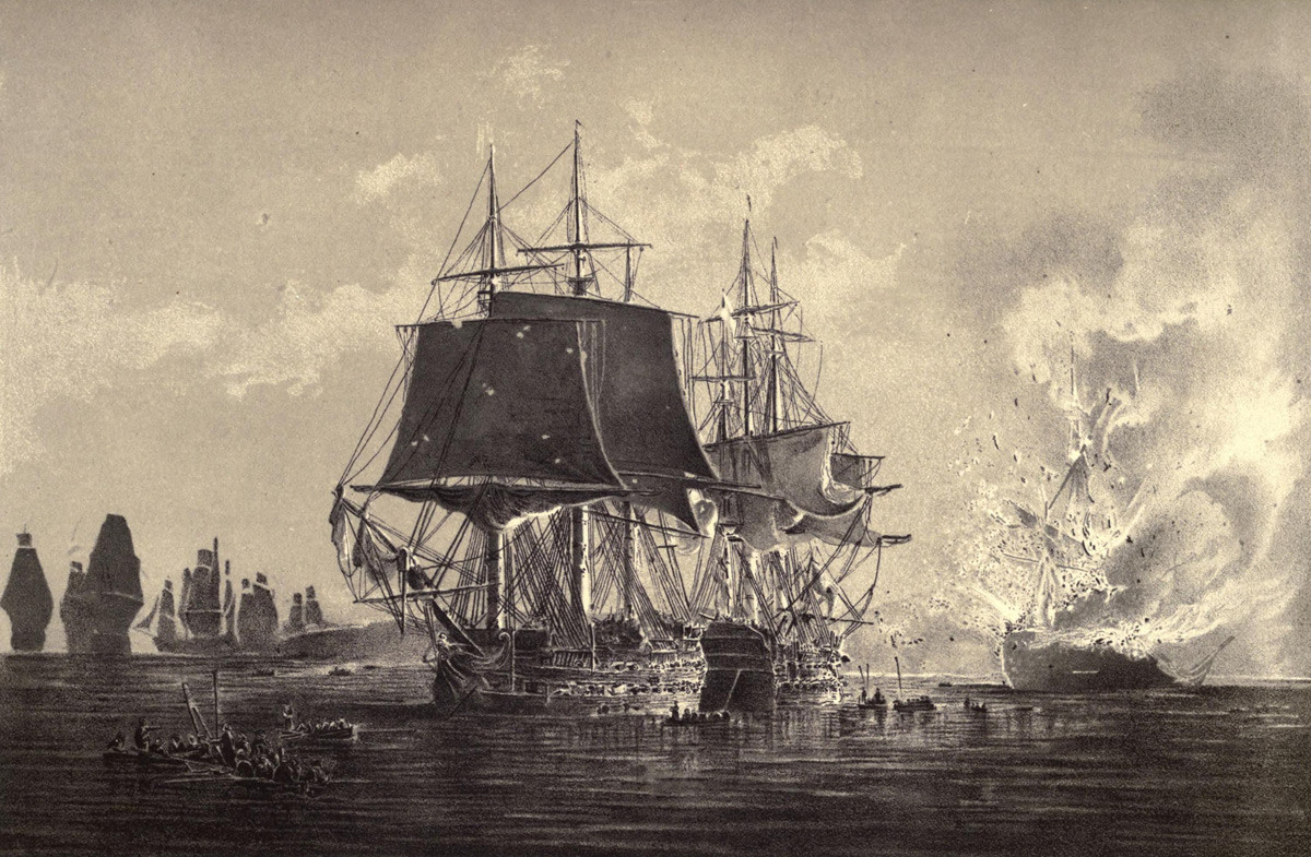 The Russian Ship Vsevolod, after the action with the Implacable, destroyed in the presence of the Russian Fleet. Rogerwick bay 1808.