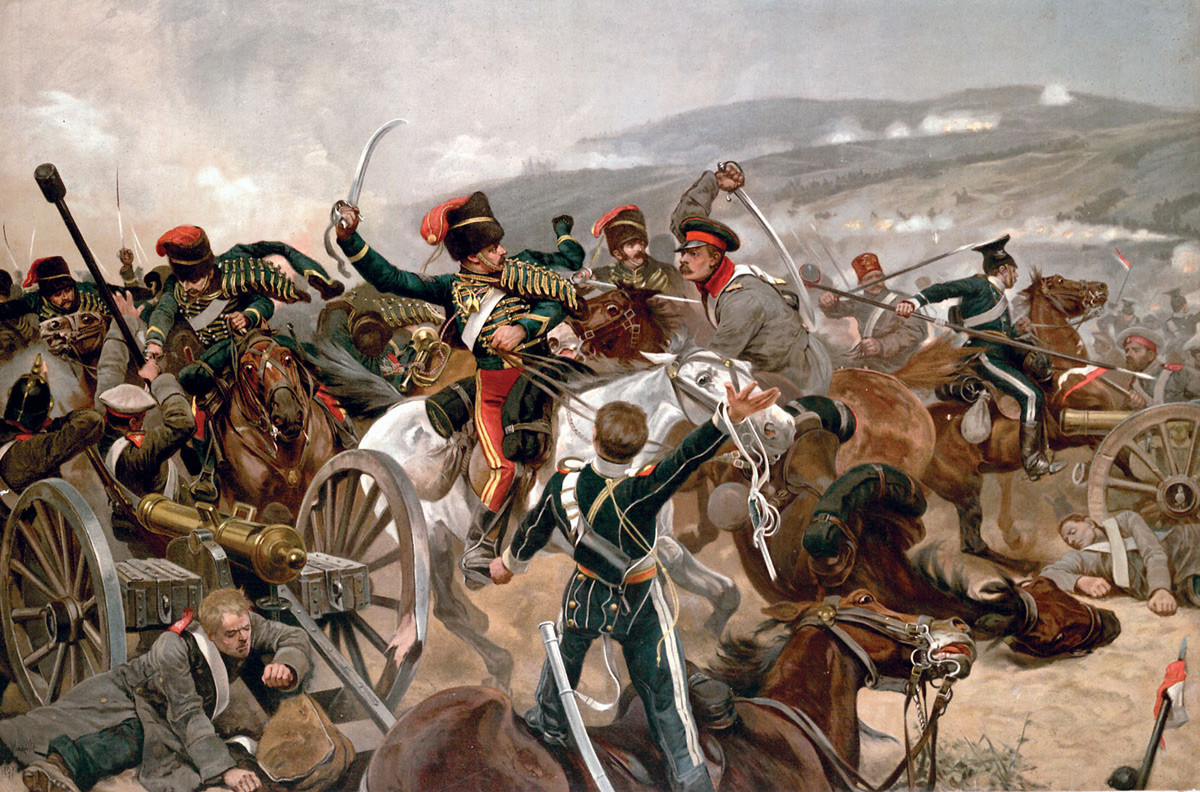 British cavalry charging against Russian forces at Balaclava