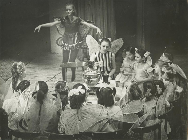 School theatre; the play Fly-Chatterbox, 1970s