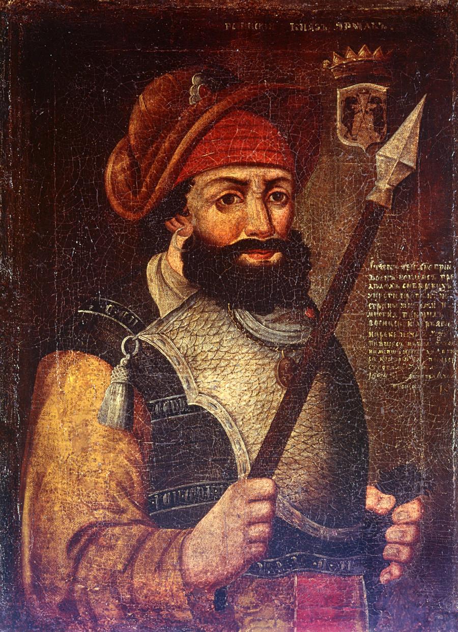 Unknown artist, Portrait of Yermak, XVIII century, oil on canvas