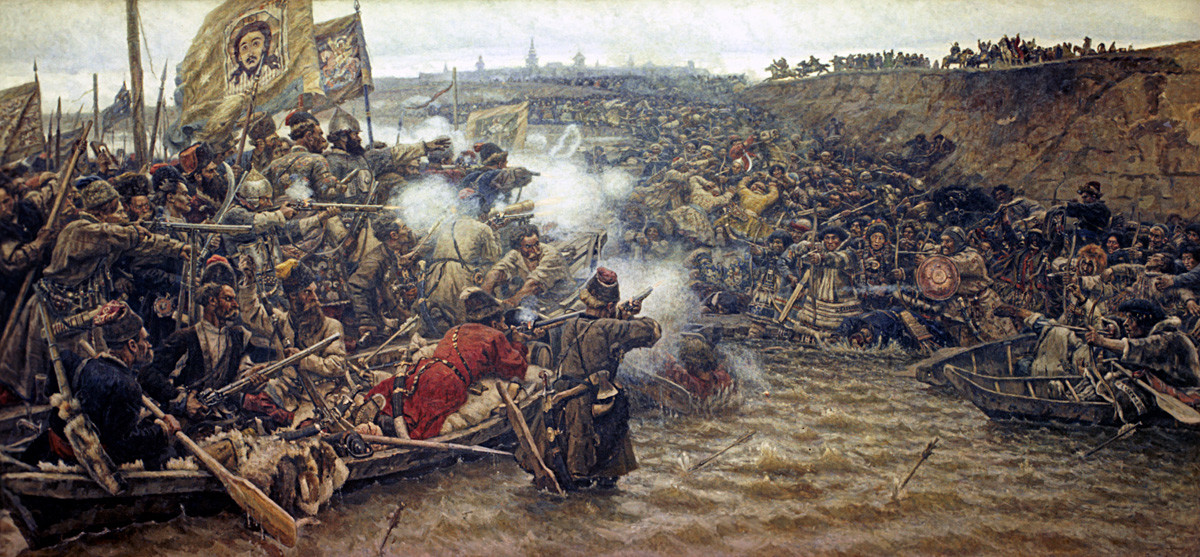"""""""Јермак осваја Сибир"""", Василиј Суриков (1895), уље на платну."""