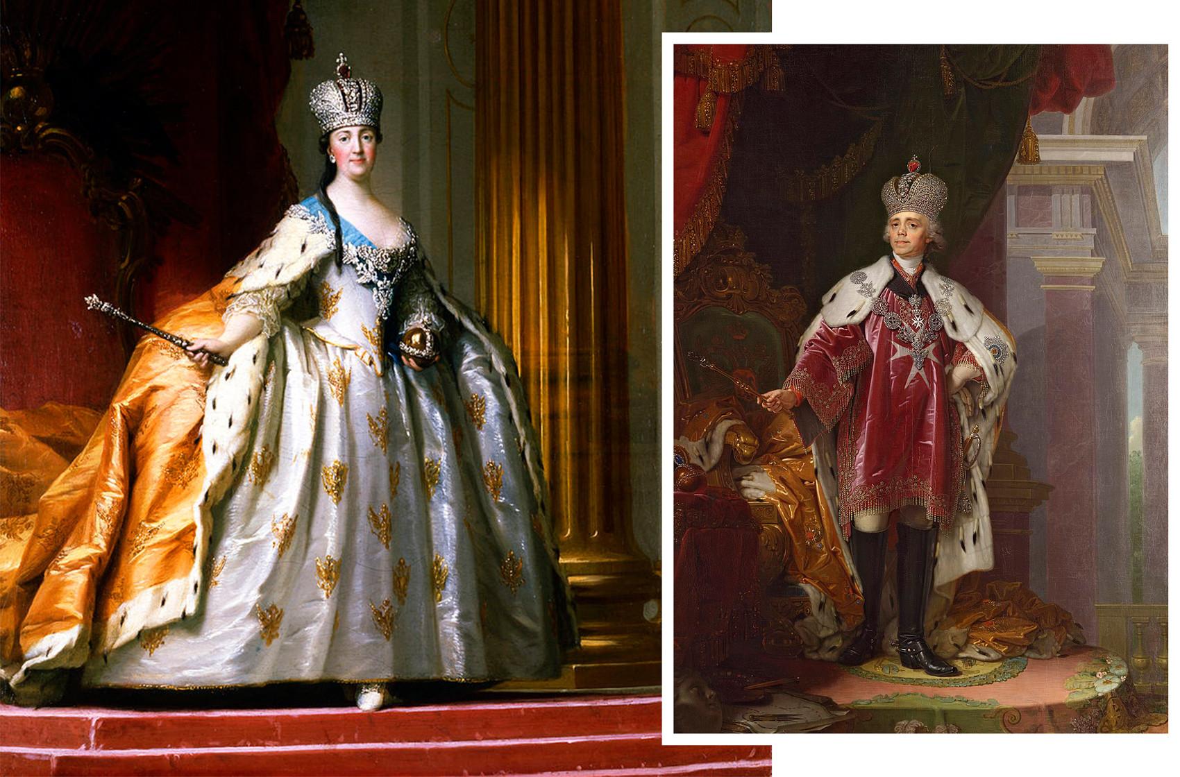 Emperatriz Catalina II de Rusia y emperador Pablo I de Rusia en la Gran Corona Imperial.