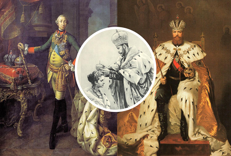 Emperadores rusos Pedro III (a la izq) y Alejandro III (a la drcha). Coronación de Nicolás II y Alejandra Fiódorovna.