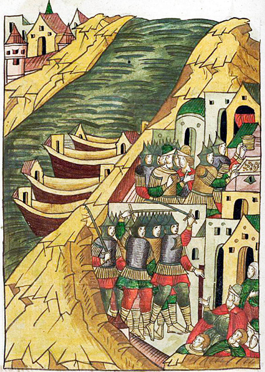 The Ushkuiniks conquer Kostroma. From The Illustrated Chronicle of Ivan the Terrible, 16th century.