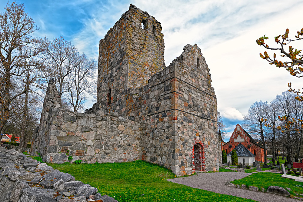 St Olof's Church ruin in the Sigtuna fortress