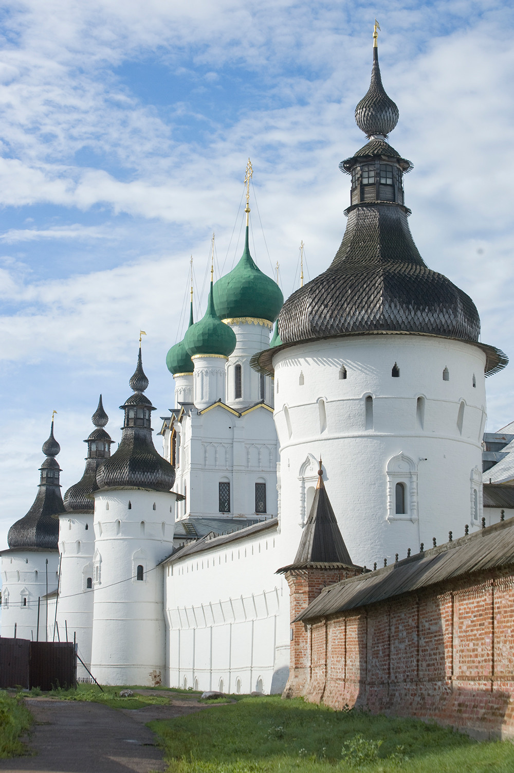 Rostov kremlin. West wall with Church of St. John the Divine over West Gate. Southwest view. July 2019