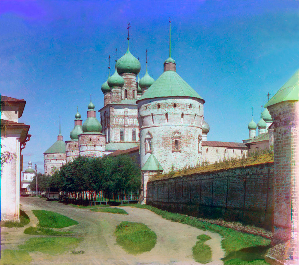 Rostov kremlin. West wall with Church of St. John the Divine over West Gate. Southwest view.  Summer 1911