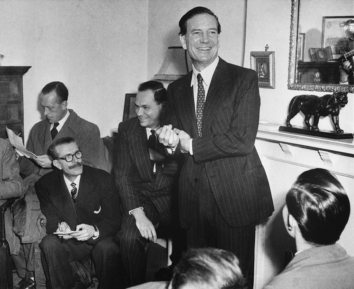 Kim Philby during his press-conference where he