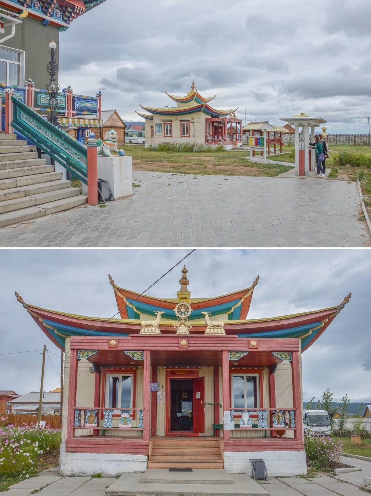 Se trouvent également ici une bibliothèque, une université religieuse, un refuge d'été pour voyageurs, une galerie d'art bouddhiste, des stands de souvenirs, ou encore une serre renfermant un figuier des pagodes sacré.