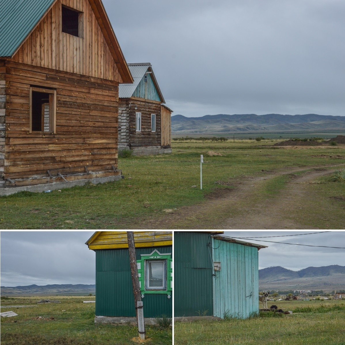 À travers la vitre du minibus, la Bouriatie se dévoile, tant au rythme de maisonnettes en bois, communes à l'ensemble du pays, que, au loin, de ces montagnes chauves balayées par les vents, si caractéristiques du Sud de la Sibérie, et qu'autrefois parcouraient certainement de nomades cavaliers.