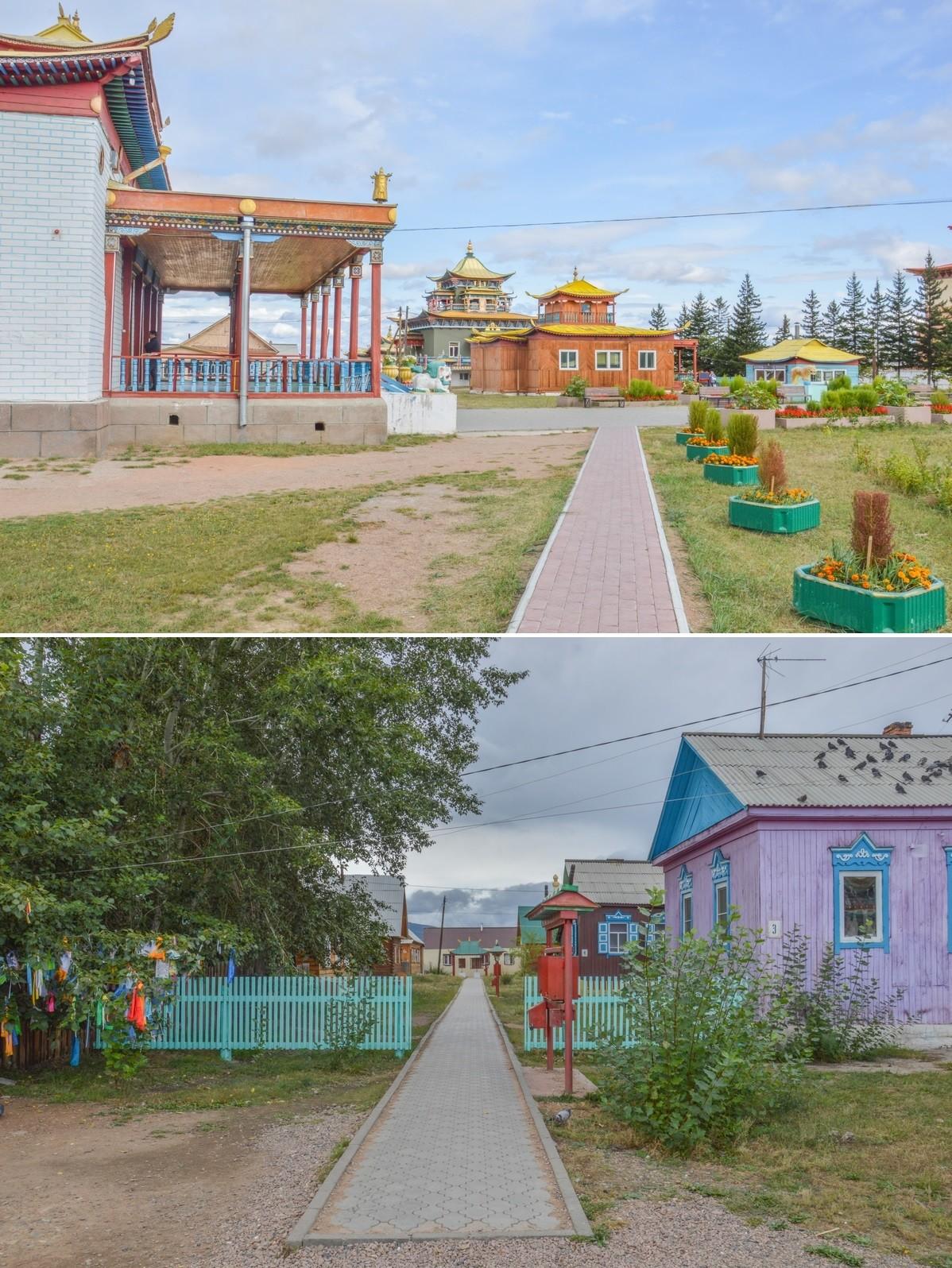 Le monastère a été fondé en 1945 après qu'un cheval blanc en aurait indiqué l'emplacement. Son édification a ainsi permis à la foi bouddhiste de renaître de ses cendres, suite à la destructrice politique antireligieuse des premières heures de l'URSS.