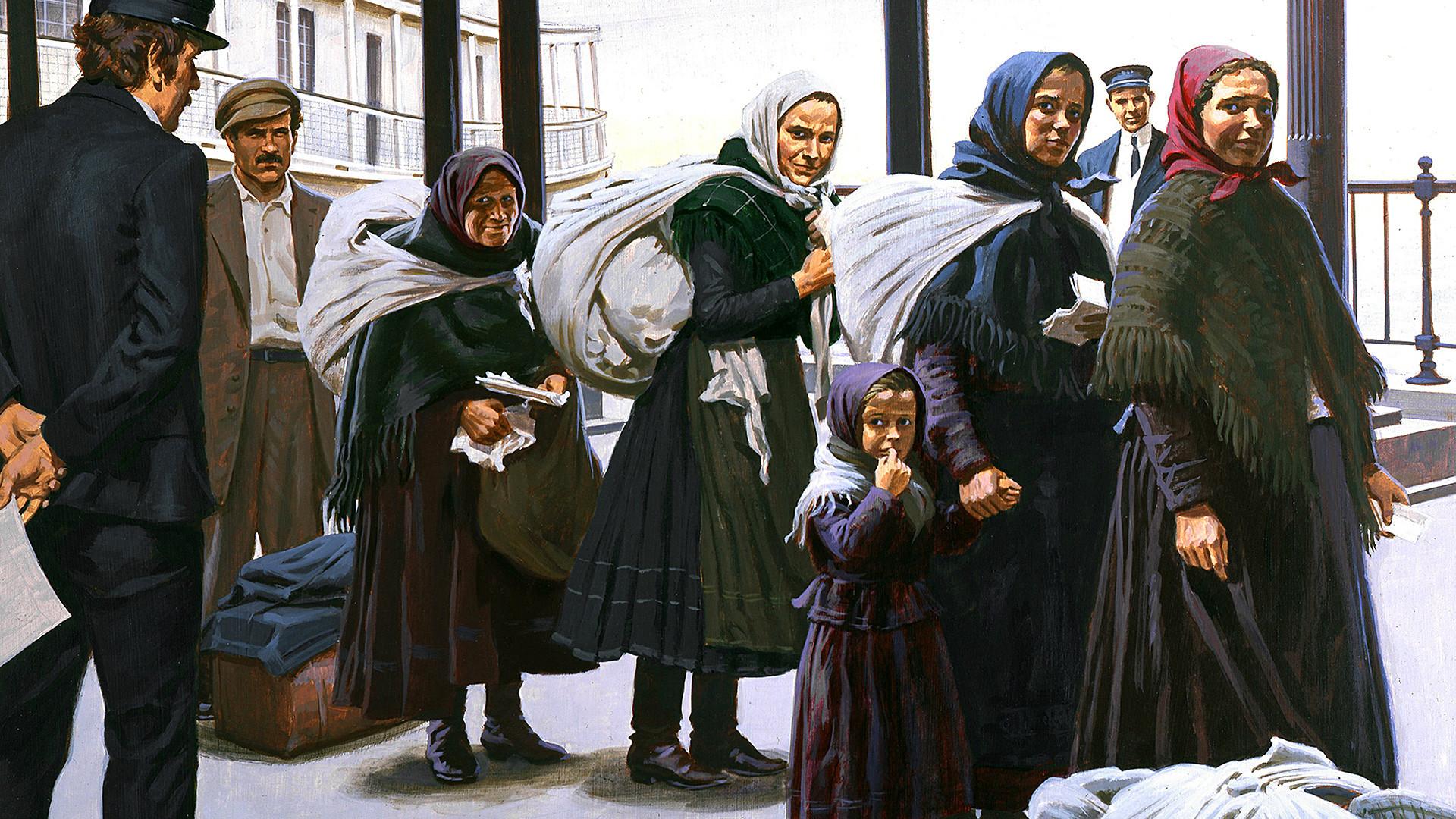 Peinture représentant des immigrants russes arrivant à Ellis Island vers 1900.