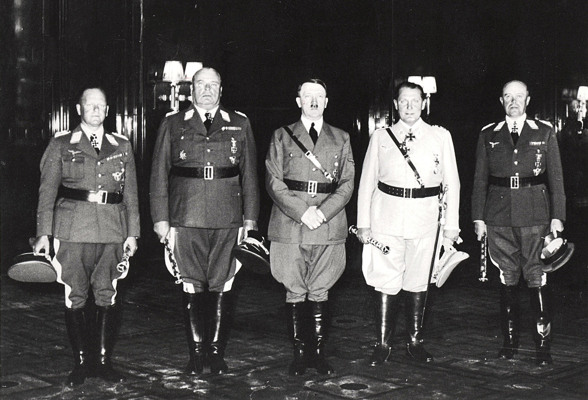 The new General Field Marshals of the Luftwaffe, from left to right: Erhard Milch, Hugo Sperrle, Adolf Hitler, Reichsmarschall Hermann Göring and Albert Kesselring.