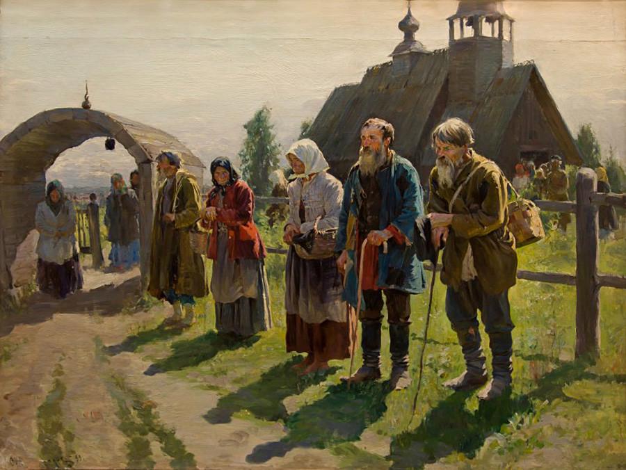 『教会の前に立っている貧乏人』セルゲイ・ヴィノグラードフ、1899年