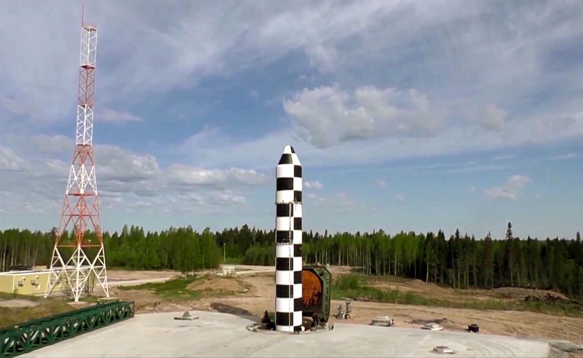 Essai d'un nouveau missile balistique Sarmat. Capture d'écran d'une vidéo diffusée par le ministère russe de la Défense.