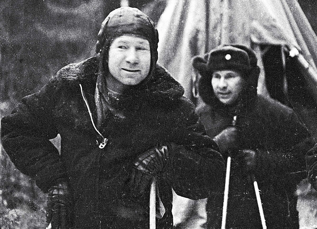 Leonov and Belyayev out in the woods of Northern Urals, where they landed.