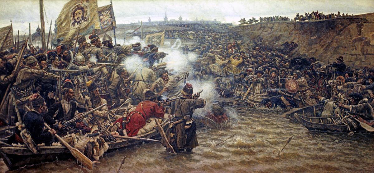 """Penaklukkan Siberia oleh Yermak"" oleh Vasily Surikov (1895). Lukisan minyak di atas kanvas."