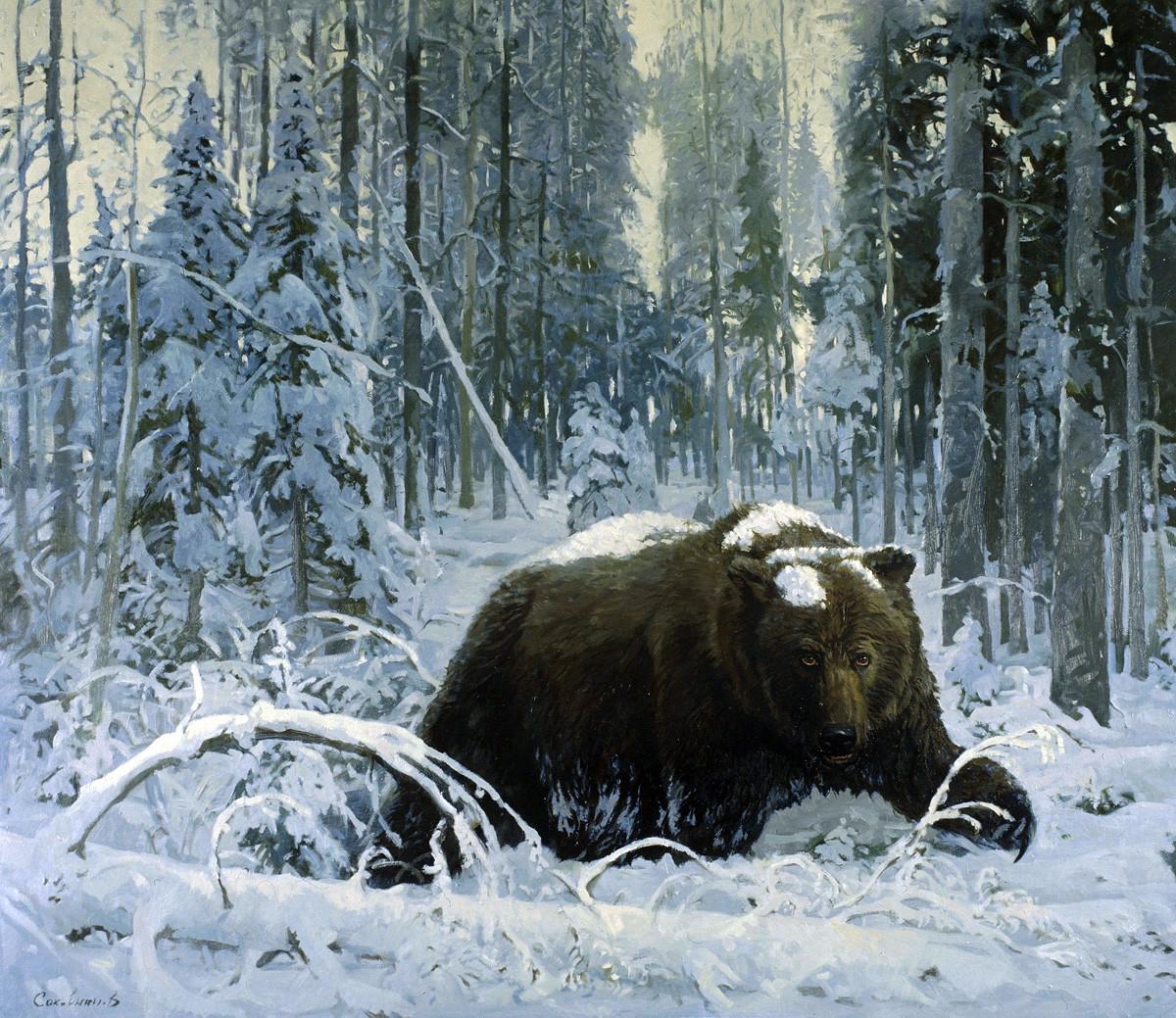 『冬眠用の穴から出てくる熊』ウラジーミル・ソコヴニン