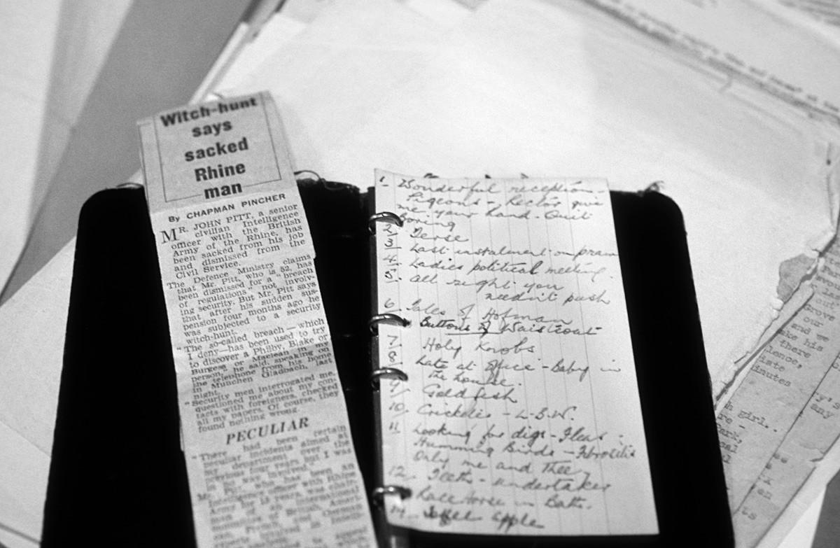 Заметки Кима Филби, проданные на аукционе Сотбис.