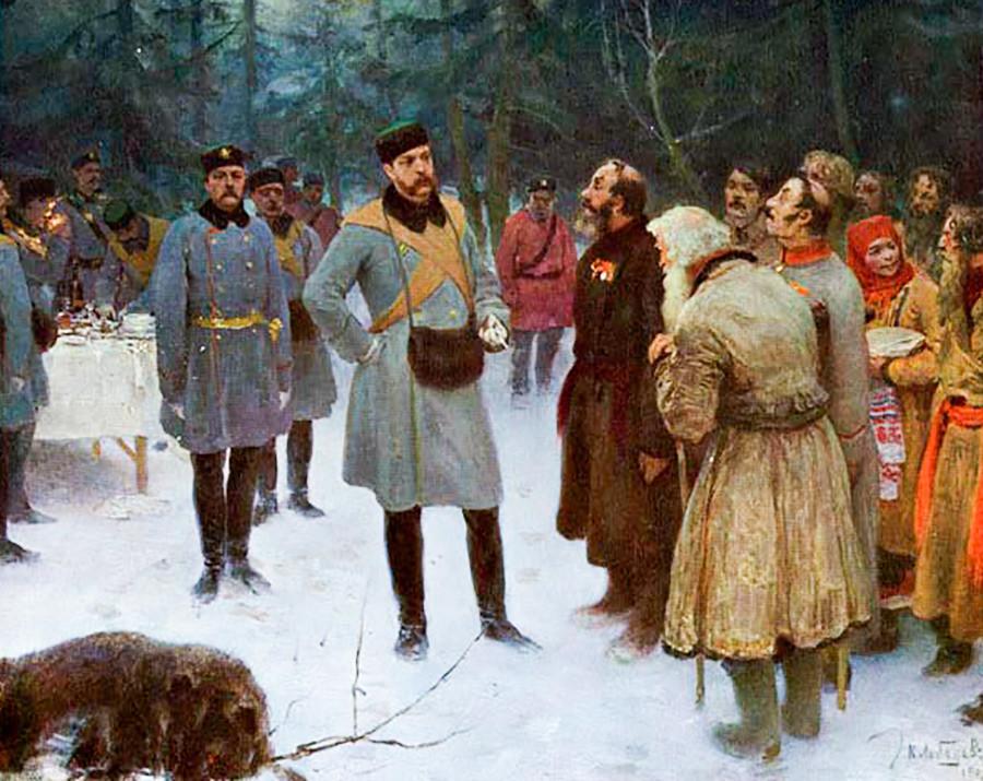 Alejandro II de Rusia hablando con los campesinos durante la cacería.