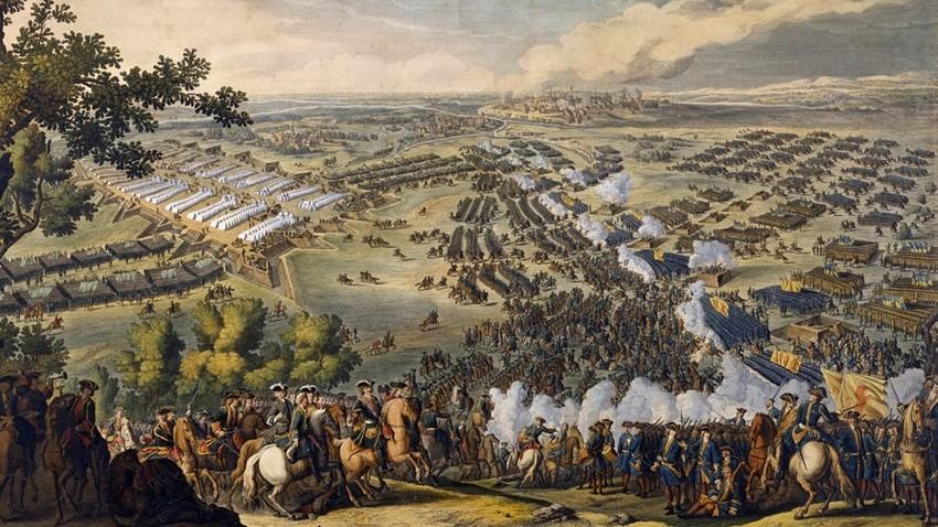 Битка код Полтаве, гравира 1709. године
