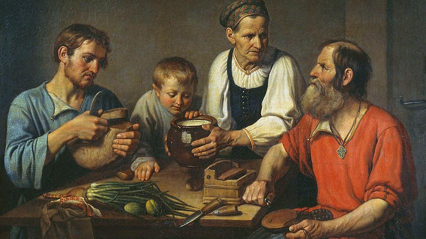 『農民の家族は昼食前』F.ソルヌツェフ画、1824年