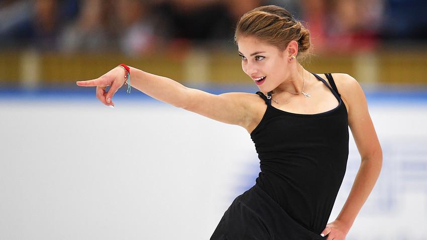 Alena Kostornaia selama latihan di Moskow.