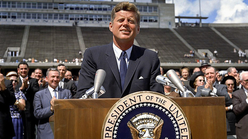 """Претседателот Џон Ф. Кенеди, Универзитет """"Рајс"""", Хујстон, Тексас, 12. септември 1962 година"""