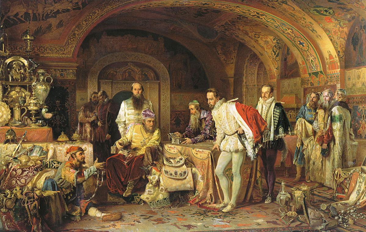 Ivã, o Terrível, mostrando tesouros ao embaixador inglês Jerome Horsey. Pintura de Aleksandr Litovtchenko, 1875.