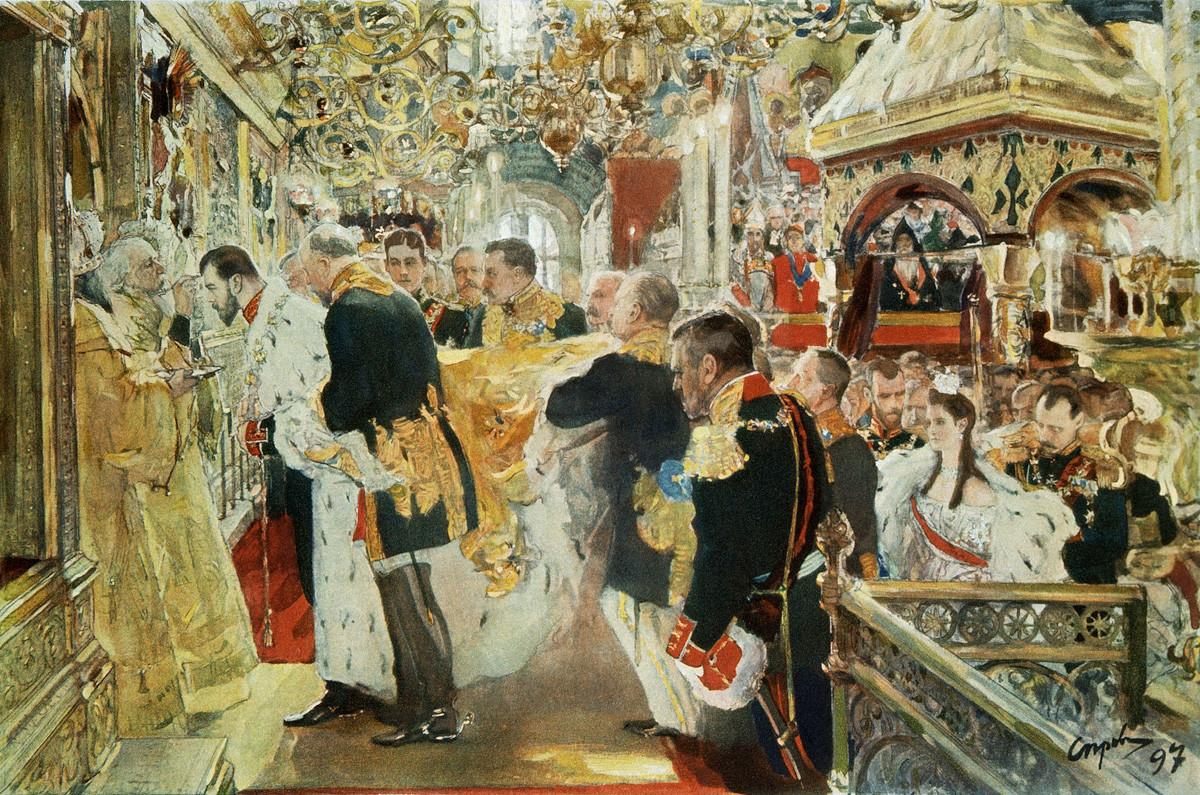 A Crisma, ou coroação, do imperador Nikolai Aleksandrovitch na Catedral de Assunção, em Serov