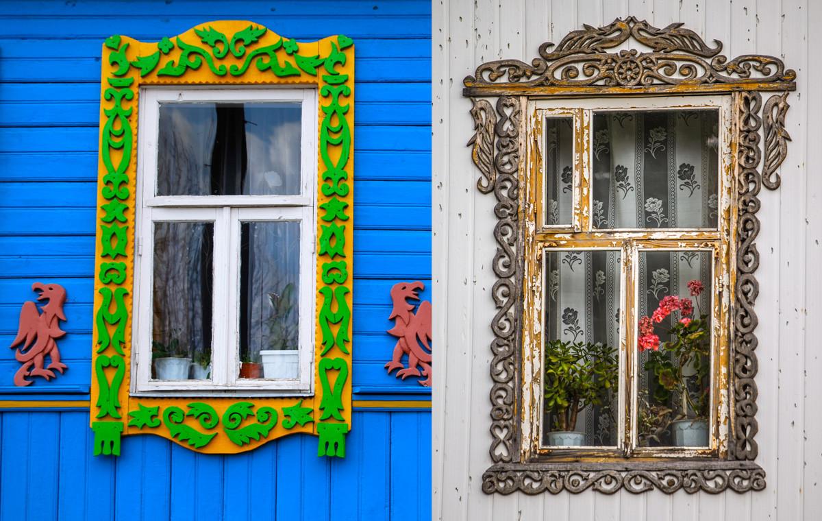 Levo: Hiša v eni od vasi Zlatega prstana. Desno: Hiša v Mordoviji.