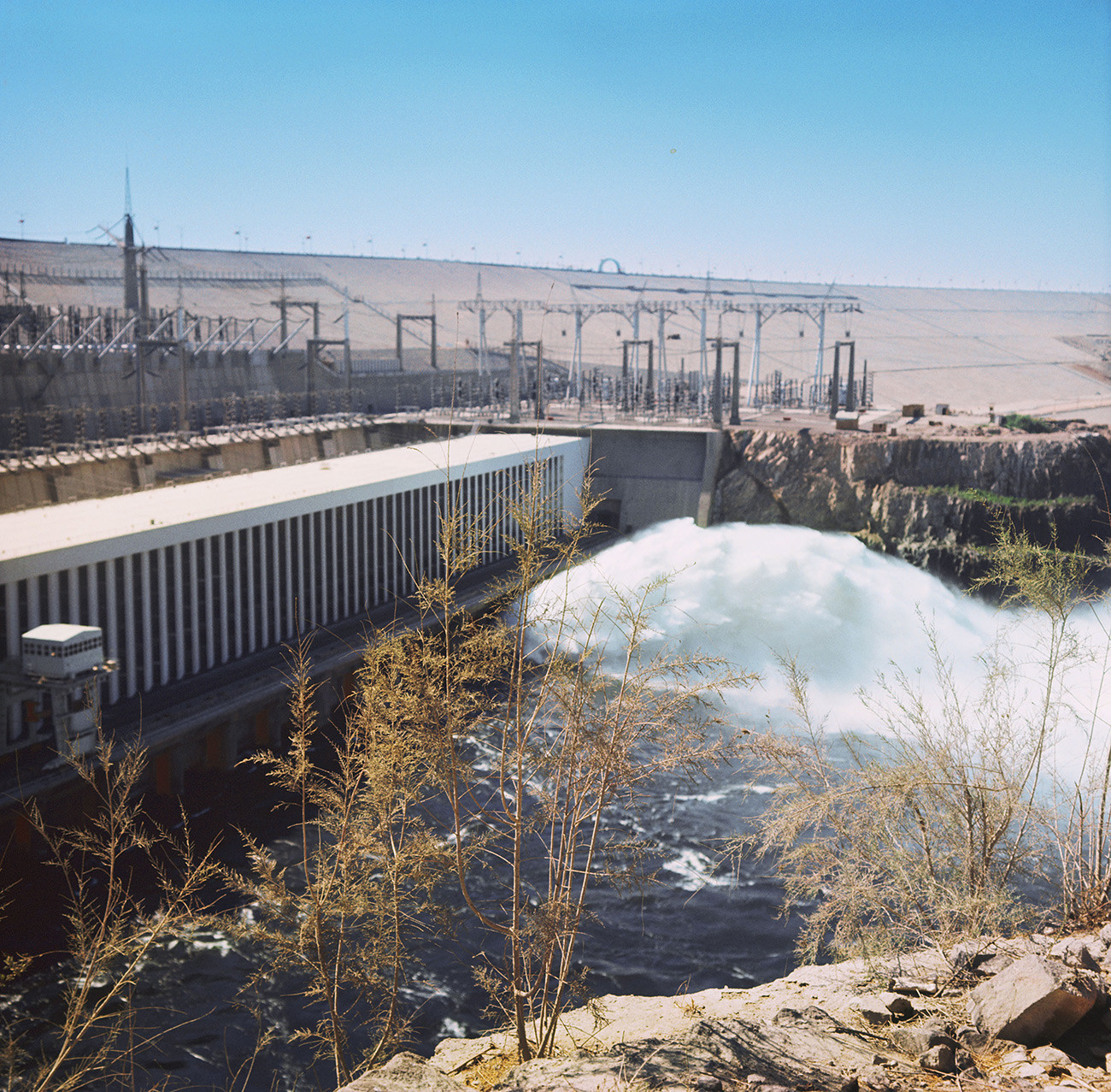 The Aswan Dam of Egypt, built by the Soviet specialists.