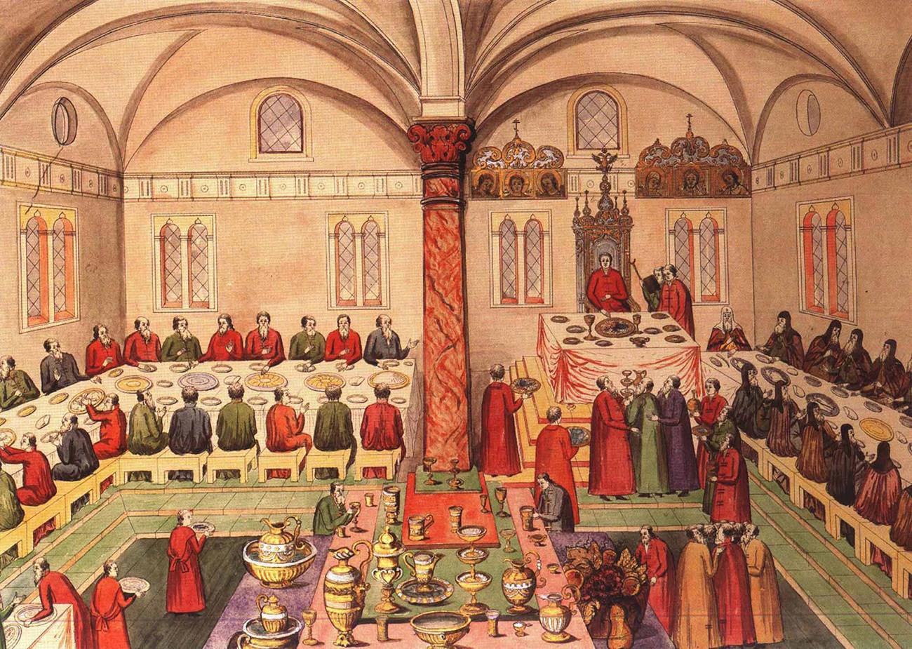 Pesta tsar di Istana Faset di Kremlin Moskow, 1673.
