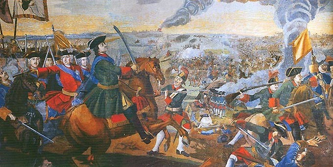 Битка код Полтаве, фрагмент мозаике М. В. Ломоносова