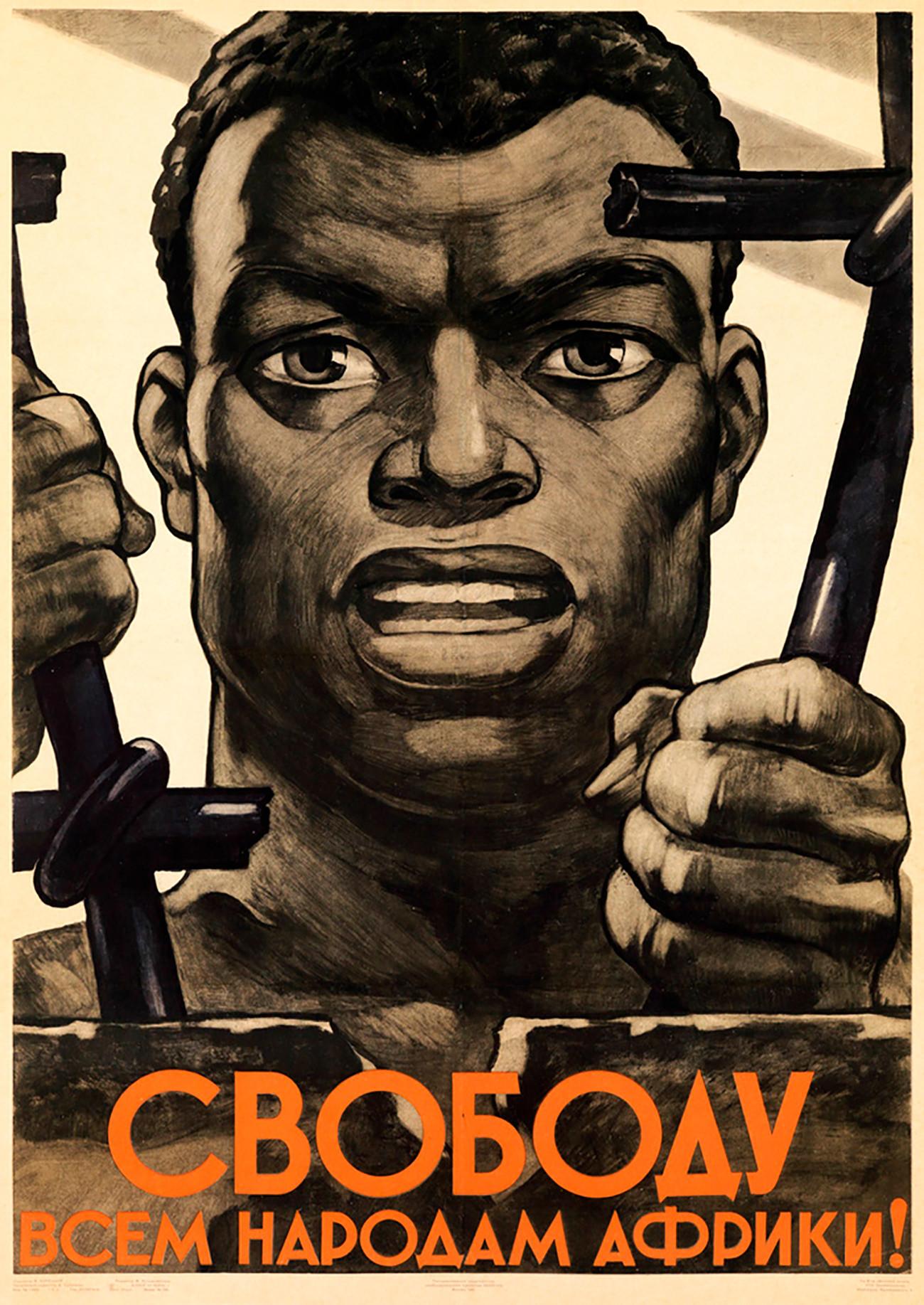 Poster propaganda Soviet bertuliskan