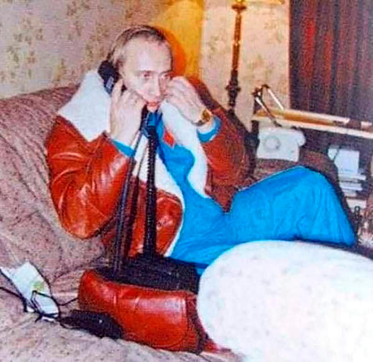 Putin in a brown sheepskin coat.