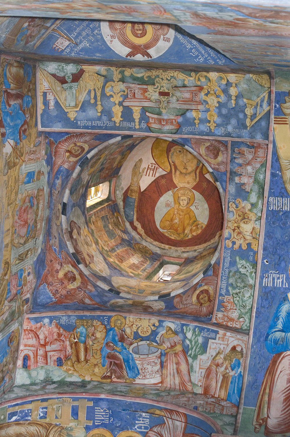 Yaroslavl. Church of Elijah the Prophet. Northwest ceiling vault & dome with fresco of Mary & Christ Child
